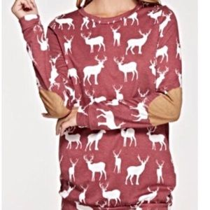 12PM Maroon long sleeve deer print elbow patch top